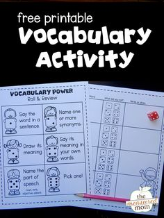 Looking for vocabulary center activities? Kids roll a die and do what it says. What a fun activity for teaching vocabulary or for early finishers! List Of Vocabulary Words, Vocabulary Journal, Teaching Vocabulary, Vocabulary Activities, Teaching Reading, Teaching Resume, Vocabulary Strategies, Vocabulary Instruction, Vocabulary Practice