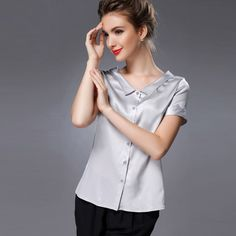 Pure Mulberry SILK blouse Women short sleeve work solid Blusas femininas Office lady spandex Plus size 2015 NEW FAll shirt