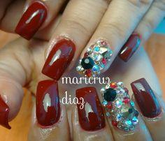 Rojo & swarovsky nails