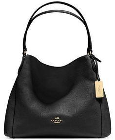COACH Edie Shoulder Bag 31 in Polished Pebble Leather Handbags - Bloomingdale's Coach Handbags, Coach Purses, Purses And Handbags, Coach Bags, Hobo Purses, Purple Handbags, Fashion Handbags, Fashion Bags, Designer Leather Handbags