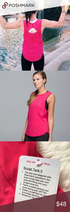 NWT Lululemon Sculpt Tank II Brand new with tags! Fuchsia color. Luxtreme. Bundle and save! lululemon athletica Tops Tank Tops