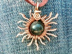 Copper wire jewelry http://www.etsy.com/shop/keoops8 blue tiger eye sun pendant, copper wire wrapped