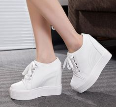 Womens Fashion Sneakers Hidden Wedge Heel High Top Spring Boots Lace Up Shoes Source by connieleeee fashion sneakers Dr Shoes, Cute Shoes, Me Too Shoes, Shoes Heels, High Heel Boots, Shoe Boots, High Heels, Sneakers Fashion Outfits, Fashion Shoes