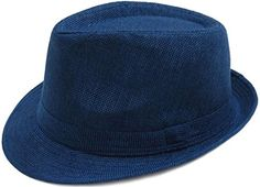 Eqoba Women/Men Classic Cotton Blend Solid Color Fedora Trilby Hat Cap, Navy - Brought to you by Avarsha.com