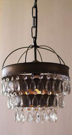 Bathroom Chandeliers Rustic paige crystal chandelier, bronze finish | chandeliers, crystals