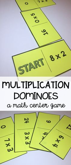 Multiplication math center - multiplication dominoes - a fun math game - practice multiplication facts