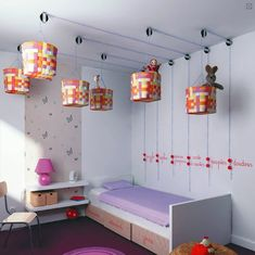 4 Clever Storage Solutions for Kids' Rooms : Cool Pulley System Ceiling Storage                                                                                                                                                                                 More