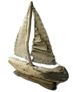 Lets sail away into the sunset . All natural drift wood collected from the beaches, where I live in a small fishing village here in the Driftwood Sculpture, Driftwood Art, Wood Animals, Driftwood Projects, Salvaged Wood, Beach Crafts, Shell Crafts, Nature Crafts, Beach Art