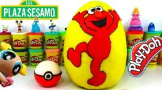 Huevo Sorpresa Gigante de Elmo de Plaza Sesamo y Pokeball de Plastilina ...
