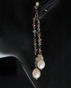 Σκουλαρίκια ασημένια 925 με Μαργαριτάρια & Ορυκτές πέτρες