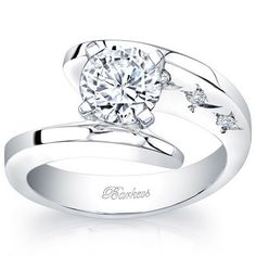"Barkevs 14K White Gold ""Starnish"" Round Cut Diamond Engagement Ring Featuring 0.05 Carats Round Cut Diamonds. Style 7795LW"