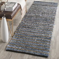 Safavieh Hand-Woven Cape Cod Blue/ Natural Cotton Jute Rug (2'3 x 6')