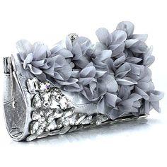 Silver Gray Grey Flower Bridesmaid Evening Ball Party Bag Purse Clutch  SKU-1110376