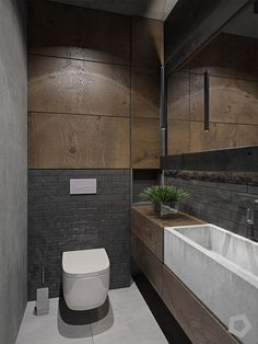 Three Homes Using Exposed Brick, Wood Panelling and Grey To Their Advantage Have an exposed brick wall? Make the most of it by pairing it with wooden panelling and grey fixtures. These three inspirational interiors show you how. Small Toilet Room, Small Bathroom, Bathroom Ideas, Kitchen Small, Bathroom Organization, Bathroom Storage, Modern Bathroom Design, Bathroom Interior Design, Modern Toilet Design
