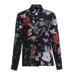 luxury brand spring summer women tops silk chiffon blouse floral patterns print turn down collar casual fashion shirts
