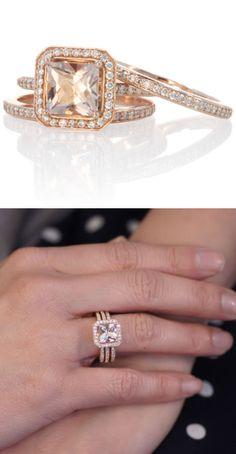 Rose Gold Princess Halo Diamond Ring Set <3 L.O.V.E.