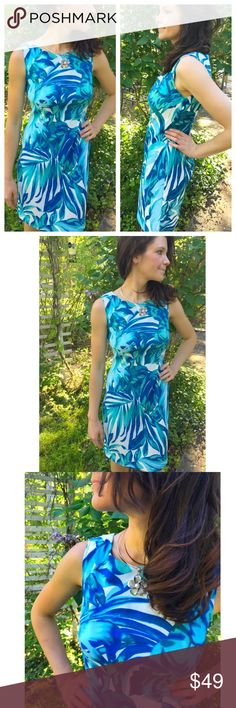 ♥️Leaf Print Blue White floral Dress ‼️🌻💥❤️New Arrival by Delilah Wear Collection. Leaf Print Blue White Dress Gorgeous! Trendy summer womens fashion dress . Great for weddings, formal, cocktail, bridal showers, evening beach, relaxing, casual, parties, work, etc. size small ❌No Trades ❌Price Firm size 4 Delilah Wear Collection Dresses Midi