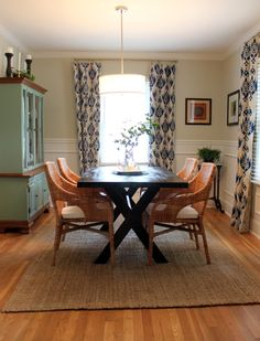 love the ikat drapes, color of the china cabinet, table with natural chairs and the rug--Chad and Amy, Triangle Honeymoon