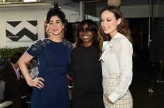 Sarah Silverman, AFI FEST Director Jacqueline Lyanga and  Olivia Wilde attend the photo call for 'Indie Contenders Roundtable presented by The Hollywood Reporter' during AFI FEST 2015 presented by Audi at the Hollywood Roosevelt Hotel on November 8, 2015 in Hollywood, California.