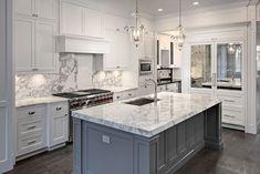 Kitchen design inspiration Grey kitchen island mixed in all white kitchen design