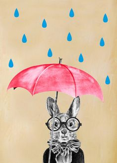 Print Drawing illustration Animal painting portrait painting Giclee Print Acrylic Painting Print wall art Wall Hanging Gift: Rainy Rabbit by CocktailZoo on Etsy https://www.etsy.com/listing/169864803/print-drawing-illustration-animal
