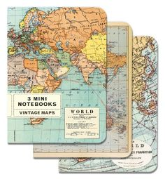 Cavallini Mini Notebooks: Vintage Maps