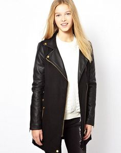 Brave Soul Wool Mix Biker Coat by Brave Soul