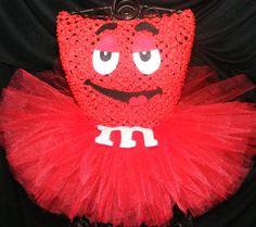 M&M inspired tutu dress - red  tutu  - Halloween - Birthday costume size newborn to 4t - costume on Etsy, $32.95