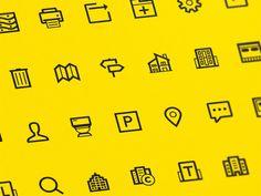 New Estate Icons Set 小标不一定是同等粗细的线条画出来的,根据情况可以是两种粗细。背景颜色 FFDF01,饱和度明度都是 100,非常醒目