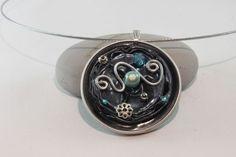 Collier nespresso pendentif bleu argenté fil aluminium