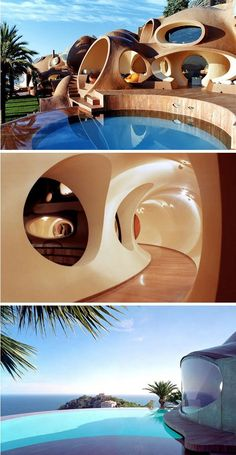 Located just 10 kilometers outside of Cannes, France is Palais Bulles, a bubbleshaped house designed by architect Antti Lovag In the 28 bedroom home was ironically sold to designer Pierre Cardin, who became known for his iconic bubble dress th - # Organic Architecture, Futuristic Architecture, Beautiful Architecture, Interior Architecture, Maison Earthship, Earthship Home, Unique House Design, Home Design, Design Ideas