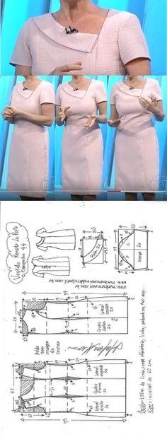Vestido Tubinho Renata Lo Prete - DIY - molde, corte e costura - Marlene Mukai, Fashion Dress Sewing Patterns, Clothing Patterns, Coat Patterns, Fashion Sewing, Diy Fashion, Dress Fashion, Sewing Clothes, Diy Clothes, Sewing Coat