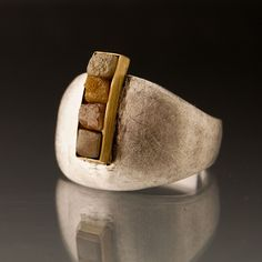 Rough Diamond 18k yellow Gold Bar Ring in Sterling Silver - Four Raw Diamond Cubes. - Konstanze