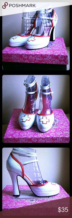"Beautiful White/Red Novelty Nurse's Sexy Pumps!! The Cutest and sexiest way to top off your sexy nurse costume - with a hot pair of sexy nurse's pumps! They are white patent with red trim. 4"" heels and 1"" platform. Three adjustable ankle straps. They are adorable and so comfortable on. Brand New!! Never been worn! Make me an offer! Ellie Shoes Heels"
