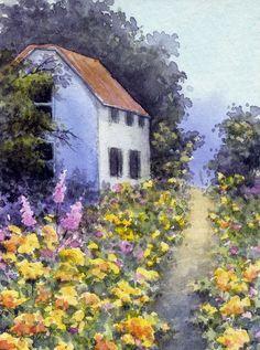 ACEO Original Miniature Watercolor Landscape Garden by Elena Mezhibovsky #Miniature