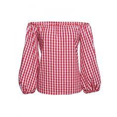 Fashion Women Off Shoulder Slash Neck Puff Sleeve Plaid Casual Blouse Tops $8.40#apparels#blousesandshirts
