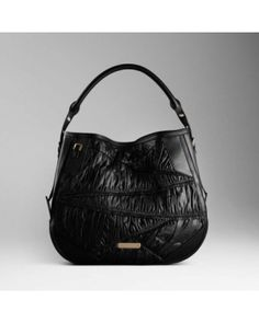 Burberry Ruched Leather Hobo Bag Black