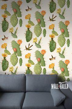 Cactus adhesivo auto transparente y Colibrí patrón Wallpaper - tatuajes de pared Vintage extraíble - Cactus y pegatinas de colibrí