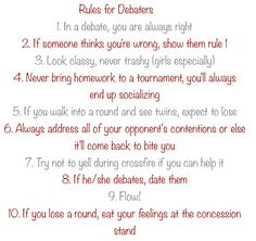 Rules for Debaters. All of these are scary accurate!