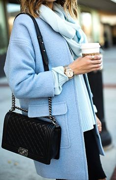 Pastel blue coat over a pastel blue turtleneck, black jeans and a black chanel boy bag. Winter Fashion Outfits, Fashion Weeks, Autumn Winter Fashion, Winter Style, Fall Fashion, Fall Outfits, Winter Coat Outfits, Chanel Fashion, Winter Wear