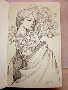 Bonsai tattoo by Sabinerich on DeviantArt Bonsai Tattoo, Illustrations, Illustration Art, Drawing Sketches, Art Drawings, Sketching, Japanese Art, Japanese Geisha Tattoo, Art Inspo