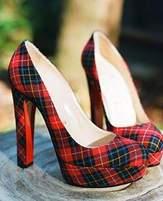 Colorful plaid wedding heels #shoes #red #pattern Photo by: A Bryan Photo on Snippet and Ink