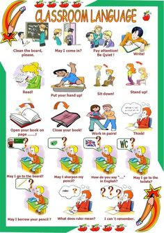 Classroom language - ESL worksheet by English Primary School, Teach English To Kids, Improve English, English Worksheets For Kids, English Lessons For Kids, Kids English, Learn English Words, English Activities, English Classroom
