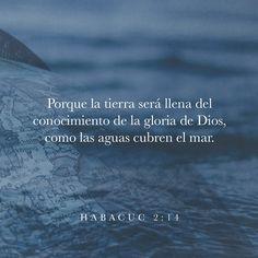 Habacuc 2:14 Porque la tierra será llena del conocimiento de la gloria de Dios, como las aguas cubren la mar.