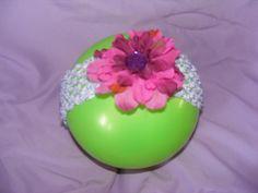 purple flower, white crochet headband