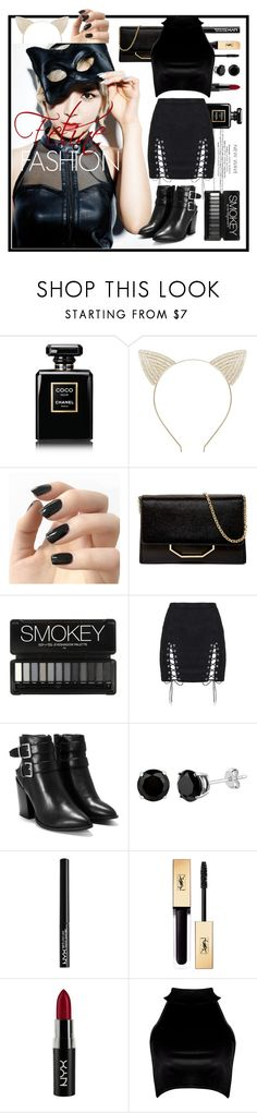 """LIKE A CAT"" by nneth ❤ liked on Polyvore featuring Chanel, Incoco, Louise et Cie, Nasty Gal, NYX and Boohoo"