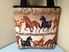 Horses Gift Tote Bag / Cowboy / Western / Easter Basket / Birthday  by HugsandHolidays for $7.50 SALE PRICE