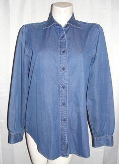 Faconnable Top Women's Sz L Blue 100% Cotton Denim Long Sleeve Button Jean Shirt #Faconnable #Blouse #CasualCareer