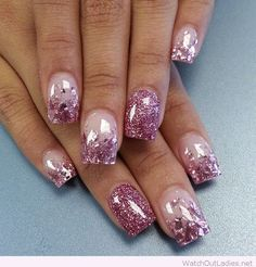 Pink and glitter Christmas nails