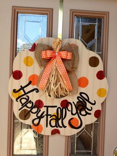 Happy fall y'all wooden beadboard wreath by shutthefrontdoors Fall Crafts, Decor Crafts, Holiday Crafts, Diy Crafts, Holiday Decor, Fall Door Hangers, Wooden Door Hangers, Wooden Wreaths, Wooden Cutouts